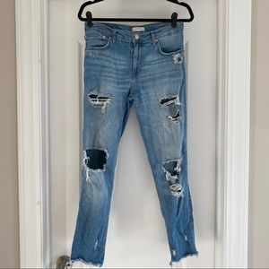 Zara Premium Woman Distressed Boyfriend Jeans